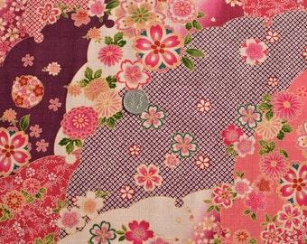 Japanese Fabric Kimono Floral Yuzen Pink by the Half Yard