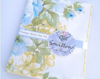 Elegant Blue & Yellow Floral Panel English Vintage Fabric Fat Quarter
