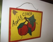 Rustic Distressed Aged Wooden Wall Plaque Apple Cider
