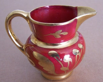 Cumbow China Miniature Copper Red Luster & Gold Pitcher/Creamer - New Price