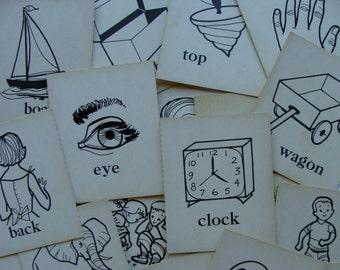 Antique Vintage 1957 Picture Words Flash Cards