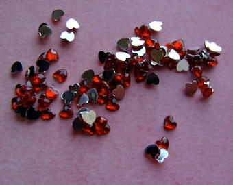 50 Diamond Cut Red Hearts Rhinestones Scrumptious  Teeny Tiny Gems