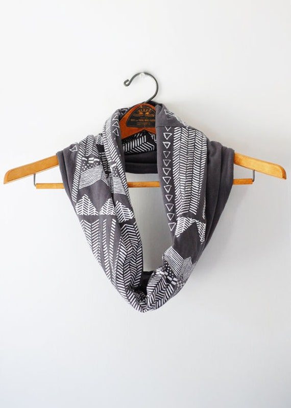Going Hunting - modern boho chic jersey hand printed circle cowl scarf - by Simka Sol