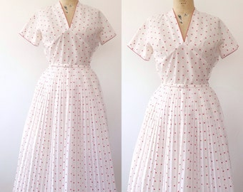1950s dress / vintage L'Aiglon dress / 50s Polka Dot Dress