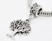 Tree of Life silver Dangle Charm-Heart Bail with Tree of Life Charm- European dangle charm bead