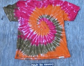 Wildfire Spiral Tie Dye V-neck T-Shirt (Fruit of the Loom Size L) (One of a Kind)