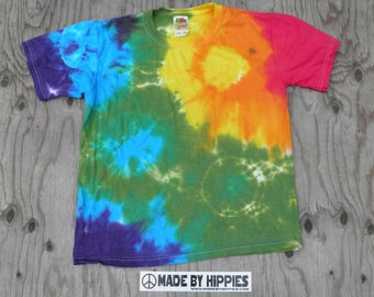 Rainbow Spots N Dots Tie Dye T-Shirt (Fruit of the Loom Size Youth Large) (One of a Kind)