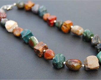 Chunky Jasper Gemstone Necklace