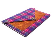 iPad Pro / iPad Air case - gray , pink, purple vintage plaid