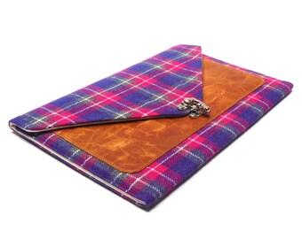 iPad Pro / iPad Air case - gray , pink, purple vintage plaid