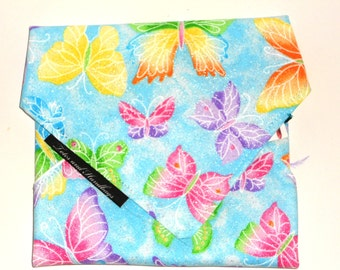 Reusable Sandwich Wrap with Glitter Blue Butterflies / Eco-Friendly  / Snack Bag / Back to School / Washable