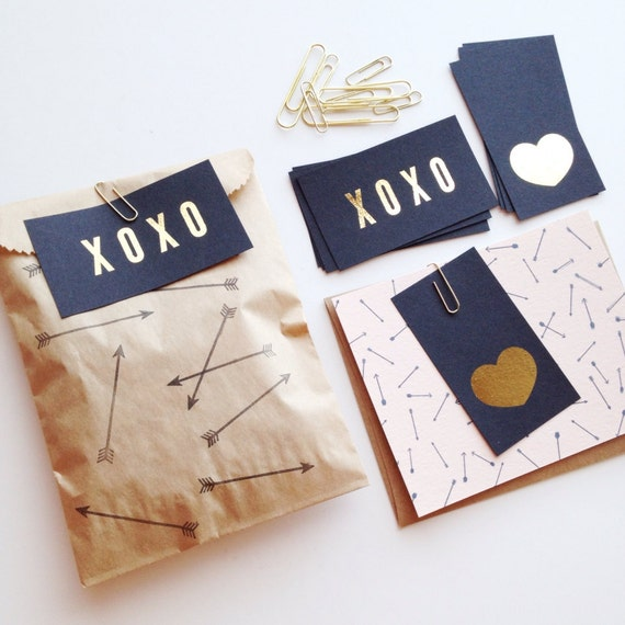 XOXO & Heart Gold Foil Mini Note Cards
