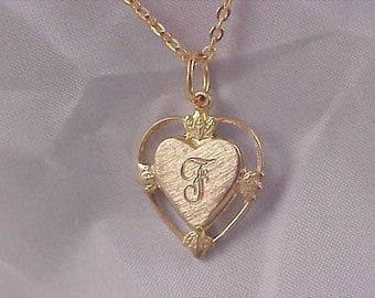 "Elegant Gold Plate Initial ""F"" Intricate Pendant & Chain"