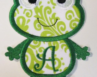 Iron On Applique -  Frog with Initials