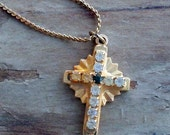 Small Gold Tone Cross Necklace with Crystals or Rhinestones