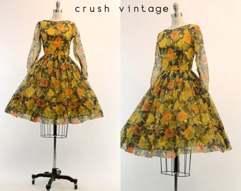 50s Dress Organza Rose XS / 1950s Floral Dress /  Cabbage Rose Dress