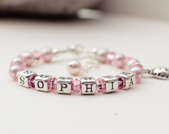 Personalized name baby toddler girl pink crystal freshwater pearl bracelet with a choice of charm