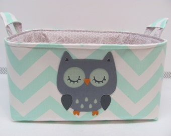NEW Fabric Applique Owl Diaper Caddy - Fabric organizer storage bin basket - Zig Zag/Chevron You CHOOSE the fabrics