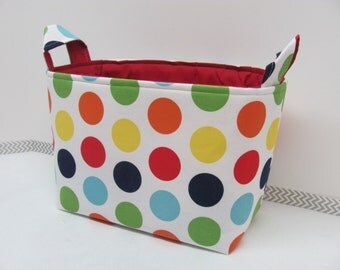 LARGE Fabric Organizer Basket Storage Container Bin Bucket Bag Diaper Holder Home Decor- Size Large  RB Dots