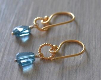 London Blue Topaz Nugget Earrings November Birthstone