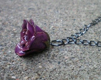 Free Shipping REAL Delicate Purple ROSE BUD Adjustable Gun Metal or Sterling Silver Chain Necklace