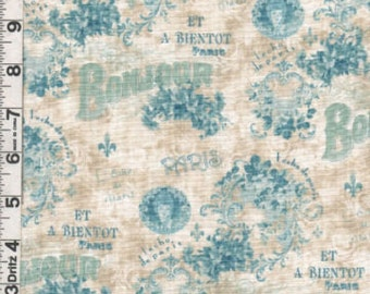 Fabric Spectrix SPX De Paris collection French words Fleur de lis Bonjour A bientôt Art Nouveau style Francour design out of print