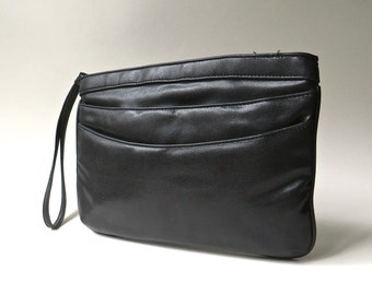 80s vintage Gunmetal Black/Dark Charcoal Grey Soft Vinyl Wristlet Clutch