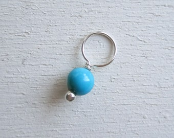 Sleeping Beauty turquoise charm on sterling silver