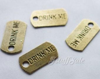 20 pcs - DRINK ME mini metal tag charms