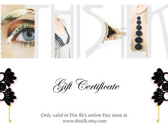 Gift Certificate - This Ilk - Value of 25, 50, 75 or 100 canadian dollars