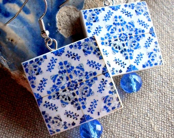 Portugal Azulejo Tile Replica LARGE Earrings from BARCELOS (see actual Facade photos) waterproof and reversible 757 L