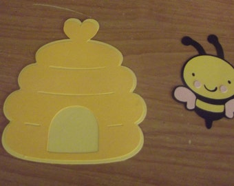 Bumble bee and hive die cut
