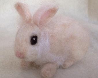 Needle Felted Baby Bunny Rabbit, Cashmere Cream, Luxury Pet