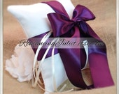 Romantic Satin Mini Size Ring Bearer Pillow...You Choose the Colors...Buy One Get One Half Off... shown in white/plum aubergine
