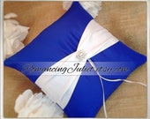 Bridal Satin and Sash Ring Bearer Pillow with Rhinestone Button Accent....You Choose The Colors... Shown in royal blue/white