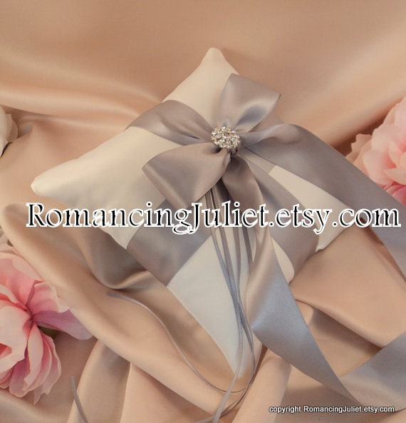 Romantic Satin Elite Ring Bearer Pillow...You Choose the Colors...Buy One Get One Half Off...shown in ivory/silver gray