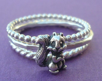 Sterling Silver Squirrel Stacking Ring Set