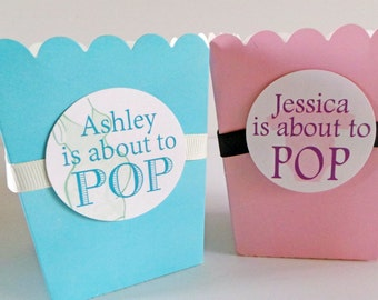 Popcorn Favor Boxes 12qty.....choose your color, tag and ribbon ... Pink Box
