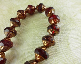Dk Red Cathedral Turbine Czech Glass Beads