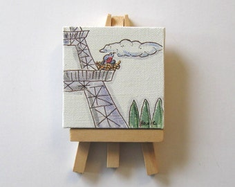 Original acrylic painting on a mini canvas, Bird's Nest, Eiffel Tower, mini wood easel, Paris apartment, French Country decor, gift idea