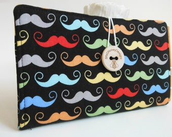 Tampon and Pad Holder in Black Handmade Privacy Wallet - Rainbow Moustache (Reserved for Jesyka)