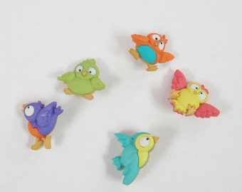 Bird Brain Bird  Buttons  Set of 5