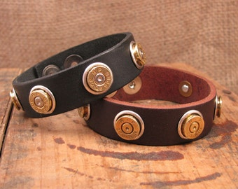 Bullet Casing Jewelry - Leather Bullet Casing Cuff Bracelet - Gun Jewelry - Bullet Designs - Western Wear - Ammo Gear