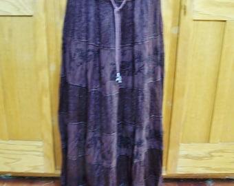 Boho skirt, Embroidered Skirt, Brown Tiered skirt, India skirt, Brown maxi skirt, size M / L