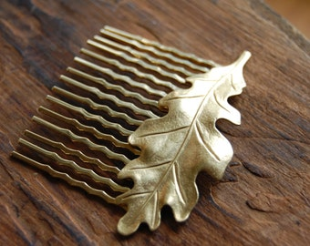 Bright Gold Oak Leaf Hair Comb Slide