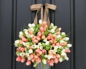 Tulips Farmhouse Door Wreaths Tulips Mother's Day Wreath Easter Wreaths Easter Tulips Trending Wreaths Shabby Chic Decor