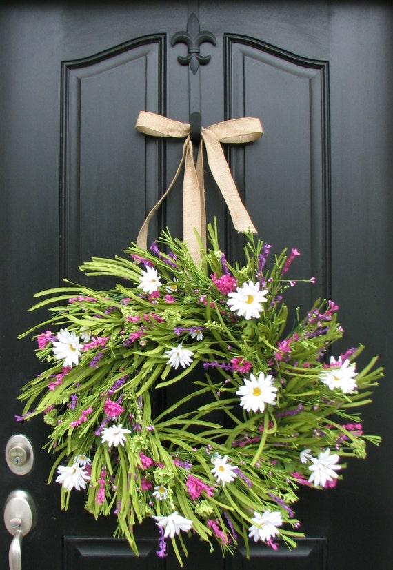 Summer Wreath Front Door Wreath White Daisies By Twoinspireyou