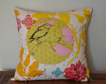 Bird Floral Pillow Cover in Ivory Gold Yellow Designer Cotton