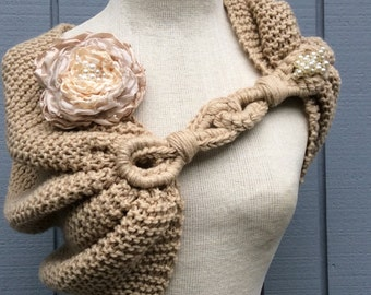 Handmade shawl, flowers, wedding gown, Shawl, handmade flower, knitting shawl, bridal shawl, wedding shawl,  wedding accessories, wedding