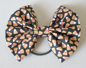 Halloween Candy Corn Ponytail Hair Bow